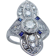 "Vintage Art Deco Platinum Etched .56ct Diamonds Sapphires Ring 1"" tall"