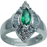 14K White Gold .60ct Marquise cut Emerald .54ct Diamonds Ring Estate Jewelry