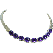 Estate 14K Yellow Gold 20.61ct Amethyst Cabochons Necklace Bracelet is available to make a set