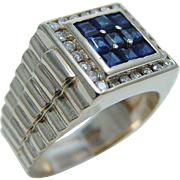 14K Yellow Gold Sapphires Diamonds Men Ring Estate Jewelry