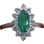 Estate 14K White Gold Emerald Diamonds Ring Good for Engagement