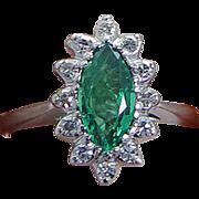 Estate 14K White Gold Emerald Diamonds Ring Good for Engagement