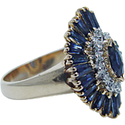 Estate 14K Yellow Gold Sapphire Diamonds Ballerina Cocktail Ring