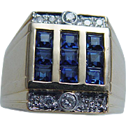Estate 18K Yellow Gold .63ct Sapphires .15ct Diamonds Mens Ring for Man
