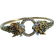 18K Yellow Gold Panther Diamond Ruby Enamel Bangle Bracelet Estate Jewelry