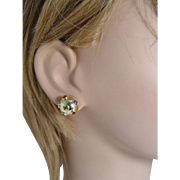 14K Yellow Gold Multigem Sputnik Earrings Estate Jewelry