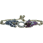 14K Yellow Gold Ruby Sapphire Diamonds Panther Bracelet SWI Estate Jewelry