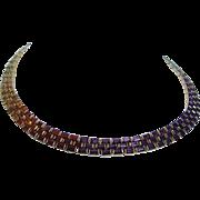"18K Yellow Gold Topaz Citrine Amethyst Garnet Peridot Diopside 16"" Necklace"