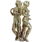 Estate 14K Yellow Gold Large Woman Man Love Pendant for Necklace