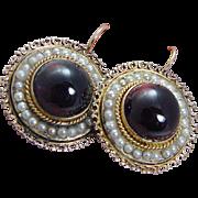 Vintage 14K Yellow Gold Natural Freshwater Pearls Garnet Large Earrings
