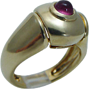 Authentic Fred Paris 18K Yellow Gold  Pink Tourmaline Ring