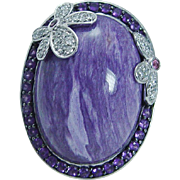 Estate 14K White Gold Russian Charoite Diamonds Amethysts Flowers Cocktail Ring 18.1gr