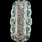 "Vintage 14K White Gold .75ct Diamonds Emerald Green Enamel 1-7/16"" Long Ring"