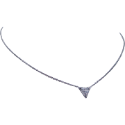 Estate 14K White Gold .70ct Trillion cut Diamond Solitaire Necklace