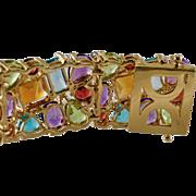 "Estate  7.5"" Long 14K Yellow Gold 52cts Multigem Diamonds Wide Bracelet Jewelry"