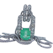 Vintage Art Deco 14K White Gold 2.94ct Colombian Emerald 1.02ct Miner Diamonds Necklace