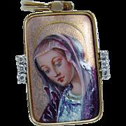 Vintage 14K Yellow Gold Enamel Madonna Diamonds Pendant Enhancer