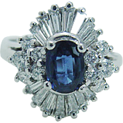 Estate 14K White Gold 1.00ct Sapphire 1.23cts Diamonds Cocktail Ring
