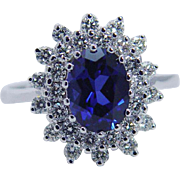 Estate 14K White Gold 1.55ct High Quality Sapphire .42ct Diamonds Ring