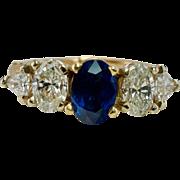 Vintage FingerMate 14K Yellow Gold Sapphire Diamonds Band Ring Splint Arthritis