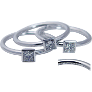 Tiffany Co Platinum .54cttw Square Princess Diamonds Ring Stackable Three Rings with pouch