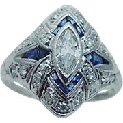 Vintage Platinum Hallmarked .72ct Diamonds Sapphire Etched Ring