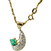 Vintage 18K Yellow Gold .92ct Emerald .61ct Diamonds Pendant with 14K Chain