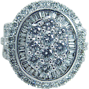 Estate ZAI 14K White Gold 2.44cttw Diamond Large Cocktail Ring Diamonds