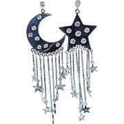Estate 18K White Gold .66ct Diamonds Star Moon Crescent Dangle Earrings Very different