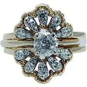 Vintage Radiant 14K Yellow Gold .80ct Diamonds Rings Wrap Cage Guard Engagement Ring