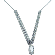 Estate Platinum 1.96ct Diamond V shape Necklace with 14K White Gold Chain
