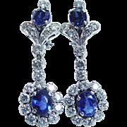 Vintage 14K White Gold Ceylon Sapphires Diamonds Dangle Earrings Omega backs