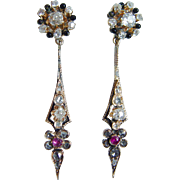 Antique Edwardian 14K Yellow Gold Miner Diamonds Ruby Enamel Drop Dangle Earrings