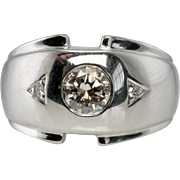 Vintage 14K White Gold .62ct Diamond Mens Ring for Man Men Diamonds