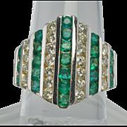 Estate 18K White Gold Emeralds Diamonds Large Ring Emerald Diamond