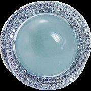 Estate 14K White Gold 8.70cts Aquamarine Cabochon Diamonds Ring