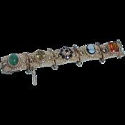 Vintage Huge Quartz Cameo Garnet Golden Imperial Topaz Jade Bracelet 88.5gr