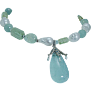 14K White Gold Aquamarine Diamond Briolettes Baroque Pearls Gemstones Necklace