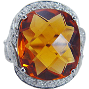 Vintage Platinum 12.25ct Imperial Topaz Miner Diamonds Large Ring with a guard