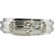 Estate 14K White Gold .30ct three Diamonds Men Man Mens Wedding Band Ring
