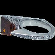JD Jewelry Designs Platinum Orange Citrine Diamonds Unusual One of a Kind Ring