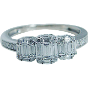 Estate 14K White Gold .72ct Round Baguette Band Ring Engagement Anniversary