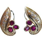 Estate 18K Yellow Gold Untreated High quality Ruby Diamonds Earrings Omega locks