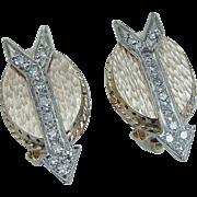 Vintage 14K Yellow Gold .44ct single cut Diamonds Arrow Arrows Earrings