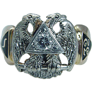 Vintage 14K Yellow White Gold .15ct Diamond Eagle 32 degree Man Masonic Ring