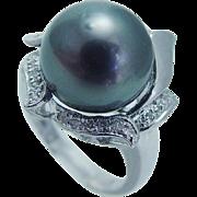 Mikimoto 18K White Gold 14mm Cultured South Sea Black Pearl Diamonds Ring Desinger