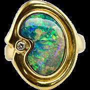 Vintage 18K Yellow Gold Black Opal Diamond Ring