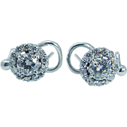 Vintage 14K White Gold 1.52cttw Diamond Earrings with .50ct center Diamonds