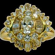 Estate 18K Yellow Gold 1.63cttw Diamond Ballerina Ring with Diamonds