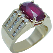 Estate 14K Yellow Gold 4.62ct Untreated Ruby .82ct Diamonds Ring